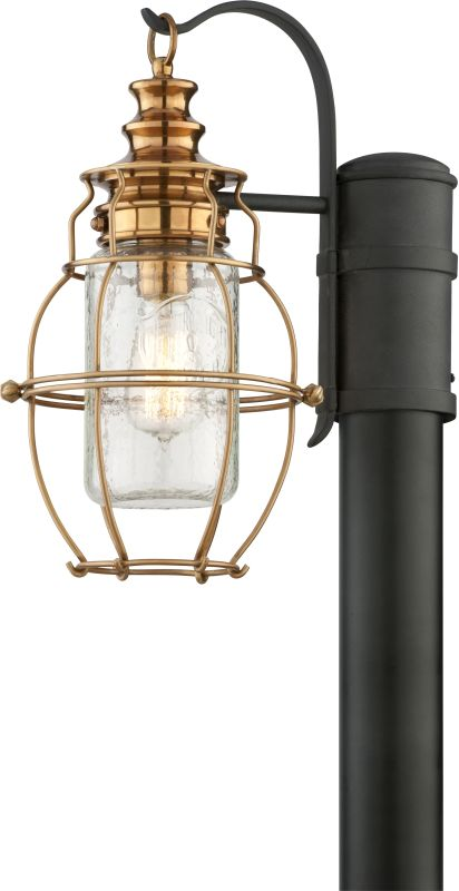 Troy Lighting P3575 Little Harbor 1 Light Post Light with Seedy Glass