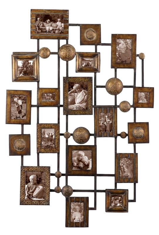 Uttermost 13465 Distressed Maple Wash With Gold Grace Feyock Natane Metal Collage Photo Frame
