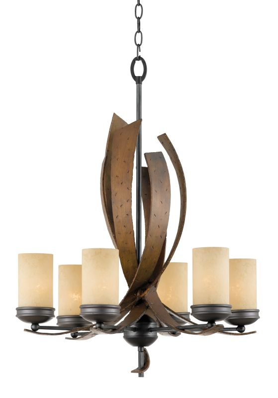Varaluz 112C06 Six Light Chandelier With Hand Forged Metal Curves Made