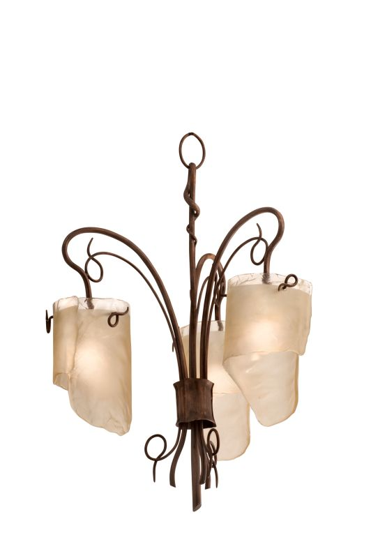 Varaluz 126C03 3 Light Recycled Chandelier with Brown Tint Ice Glass