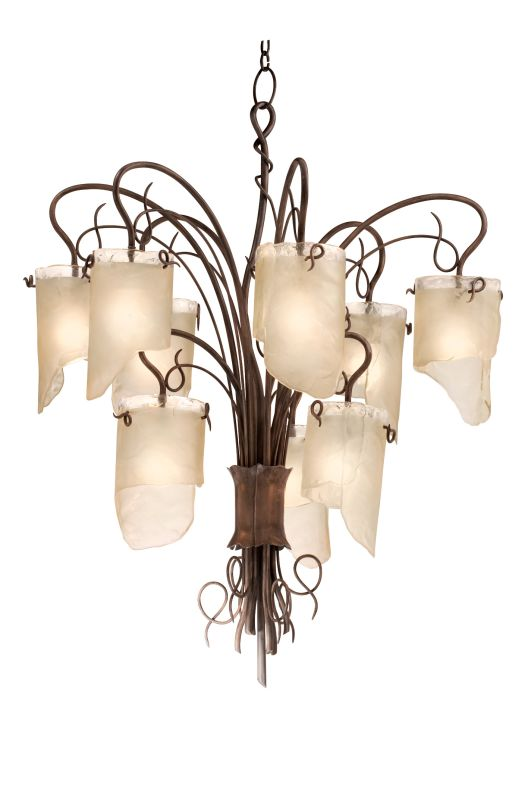 Varaluz 126C09 Nine Light Chandelier from the Soho Collection Hammered