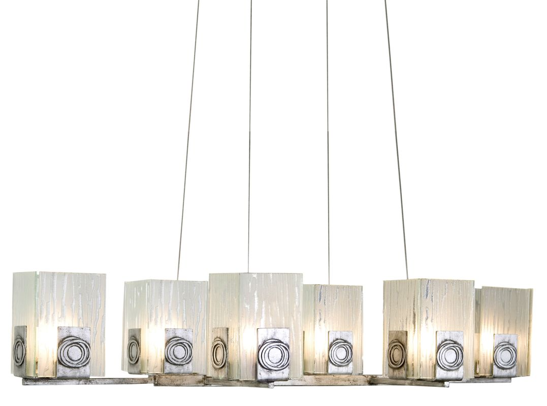 Varaluz 182N06 Six Light Oblong Chandelier Made Of Recycled Steel And