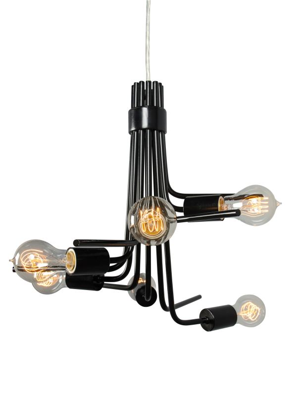 Varaluz 219C06BL Socket-To-Me Black Six Light Single Tier Chandelier