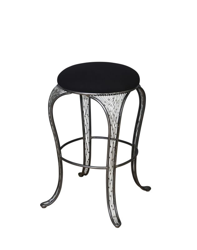 Varaluz 240A06SL Steel Bar Stools Features: Hand-applied finish Black cushion seat made from a high