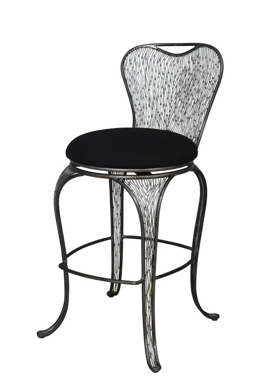 Varaluz 240A08SL Steel Bar Stools Features: Hand-applied finish Black cushion seat made from a high