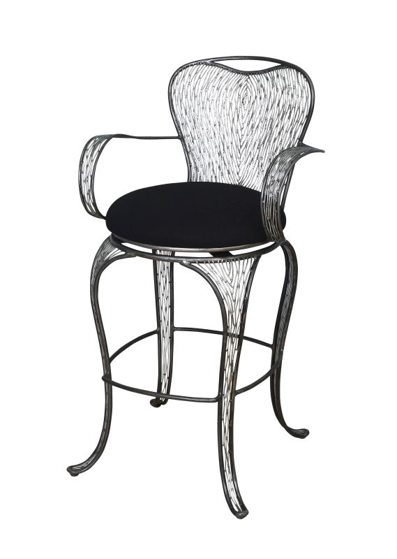 Varaluz 240A09SL Steel Bar Stools Features: Hand-applied finish Black cushion seat made from a high