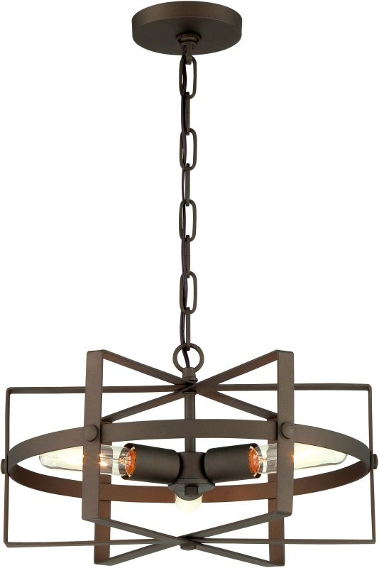 Varaluz 242P03S Reel 3 Light Pendant Rustic Bronze Indoor Lighting
