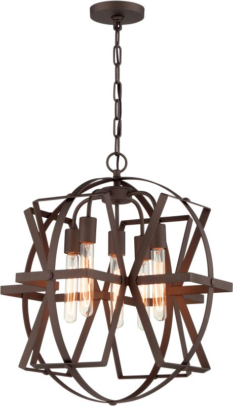 Varaluz 242P05 Reel 5 Light Pendant Rustic Bronze Indoor Lighting