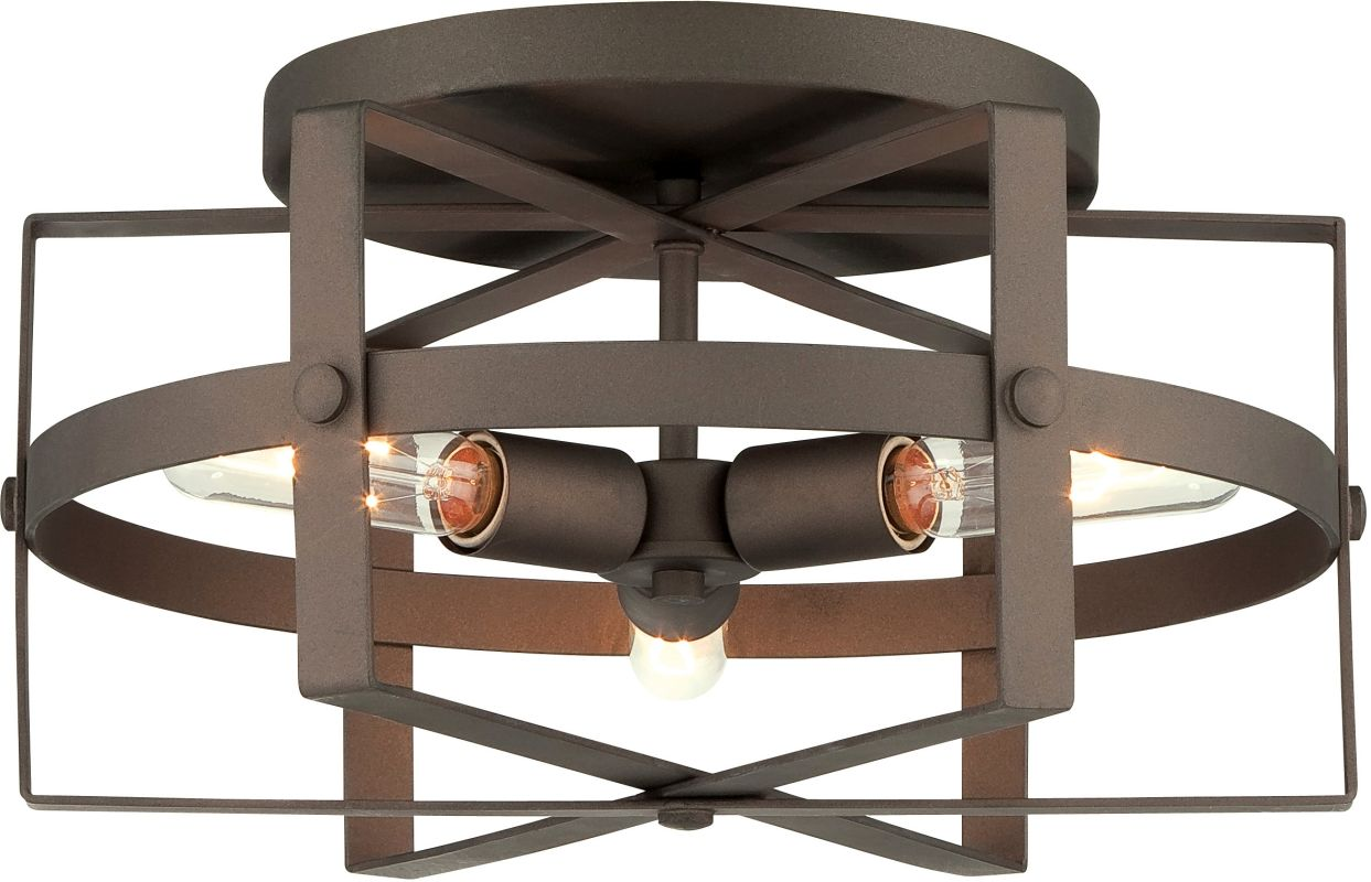 Varaluz 242S03 Reel 3 Light Flush Mount Ceiling Fixture Rustic Bronze