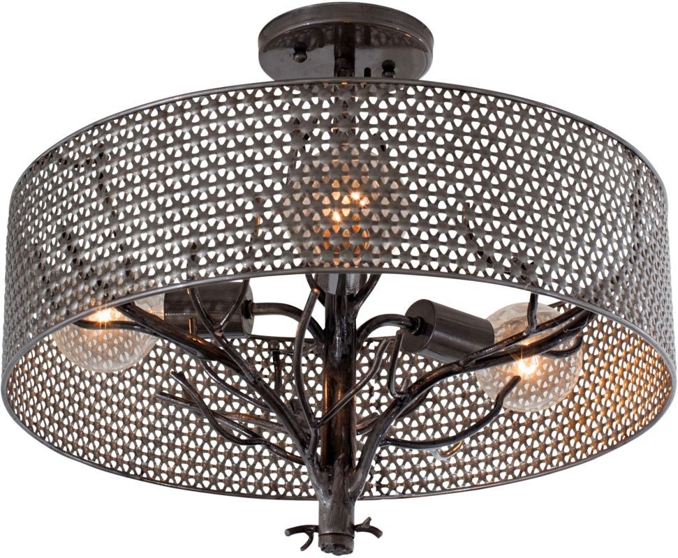 Varaluz 245S03 Treefold 3 Light Semi Flush Ceiling Fixture Steel