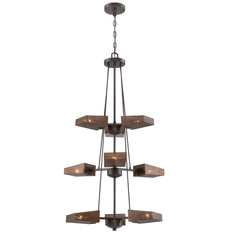"Varaluz 273F09 Gold Rush 9 Light 3 Tier 24"" Width Hand Painted"