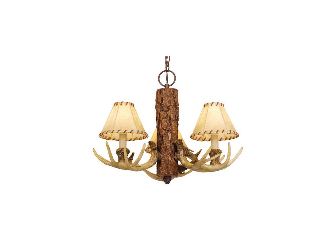 Vaxcel Lighting CH33003NS Noachian Stone Lodge Rustic / Country Three Light Up Lighting Chandelier from the Lodge Collection