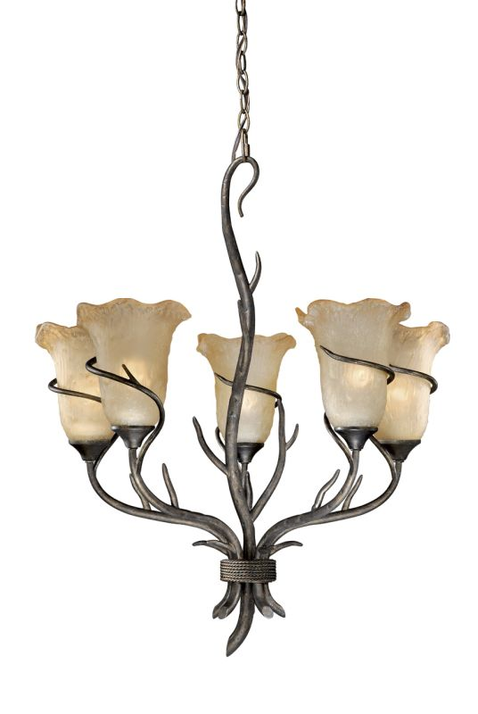Vaxcel Lighting MY-CHU005AA Autumn Patina Monterey Rustic / Country Five Light Up Lighting Chandelier from the Monterey Collection