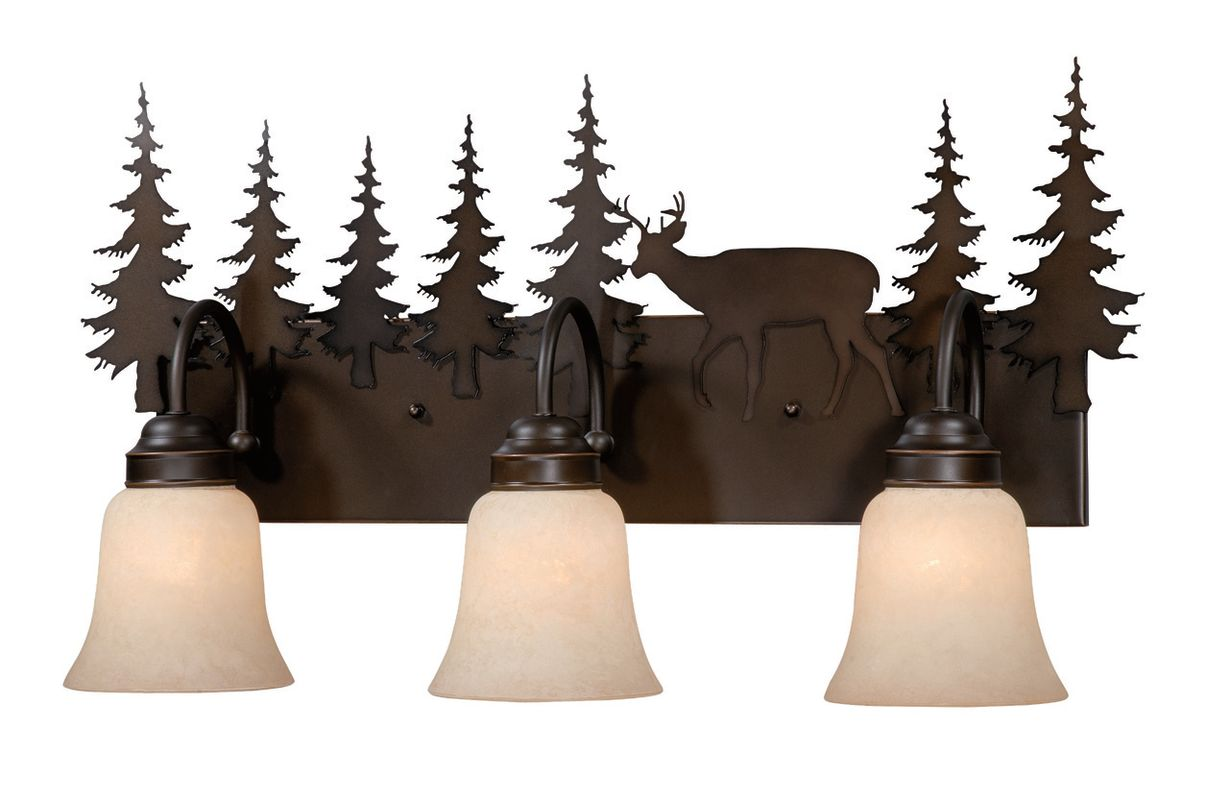 """Vaxcel Lighting VL55403BBZ Burnished Bronze Bryce Rustic / Country Three Light Down Lighting Deer and Pine Tree 24.63"""" Wide Bathroom Fixture from the Bryce Coll"""