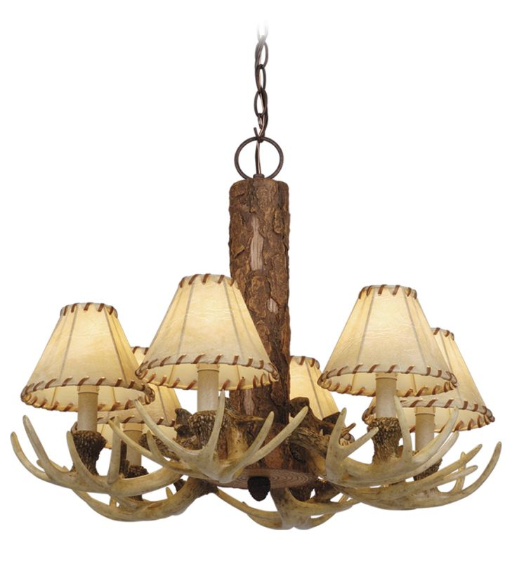 Vaxcel Lighting CH33006NS Noachian Stone Lodge Rustic / Country Six Light Up Lighting Chandelier from the Lodge Collection