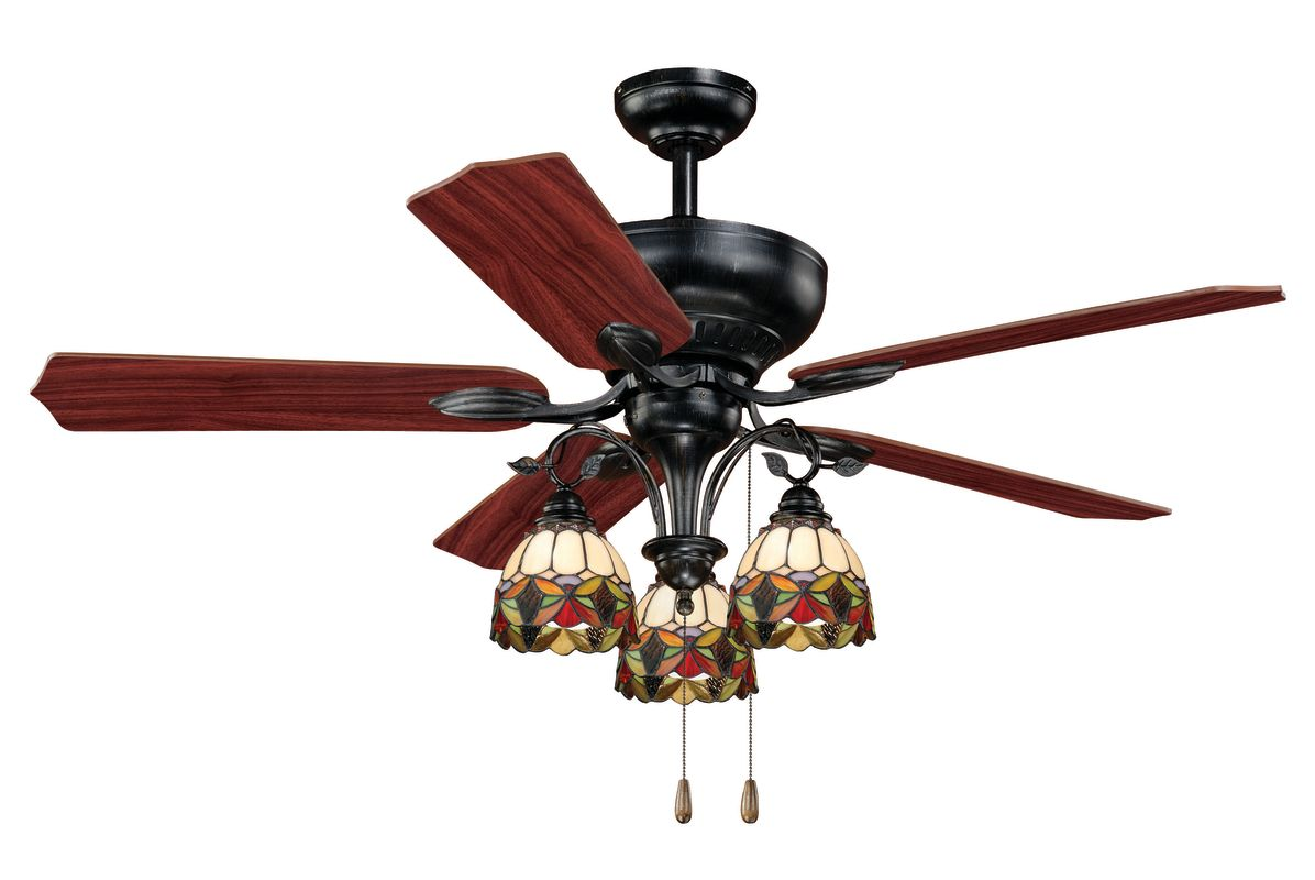 "Vaxcel Lighting F0006 Oil Shale French Country French Country 52"" 5 Blade Indoor Ceiling Fan with Reversible Motor Chain Light Kit and Reversible Blades Included"