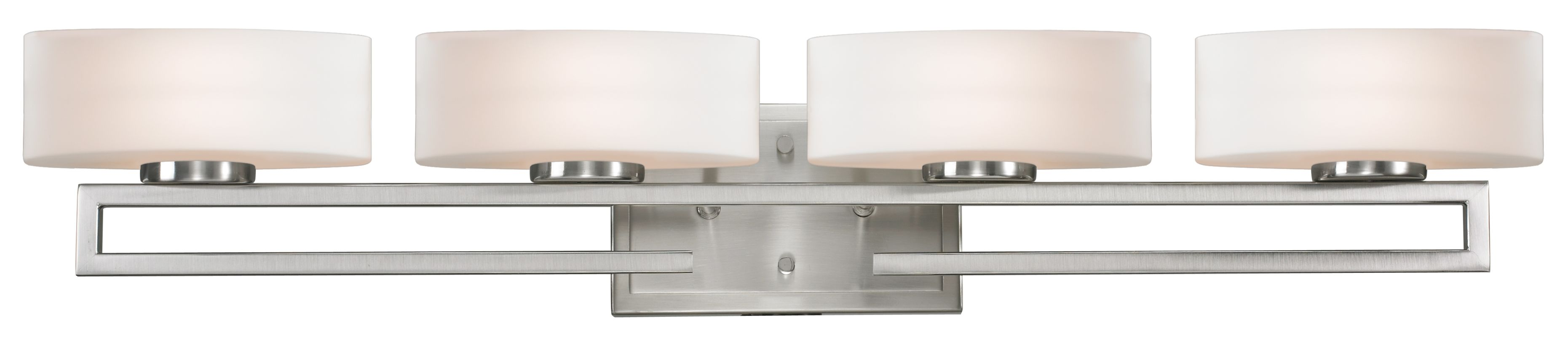 Vanity Lights Clip On : Zlite 30104v Brushed Nickel Vanity Light This Set Of Four Vanity Lights Sits On A Cutaway Rail