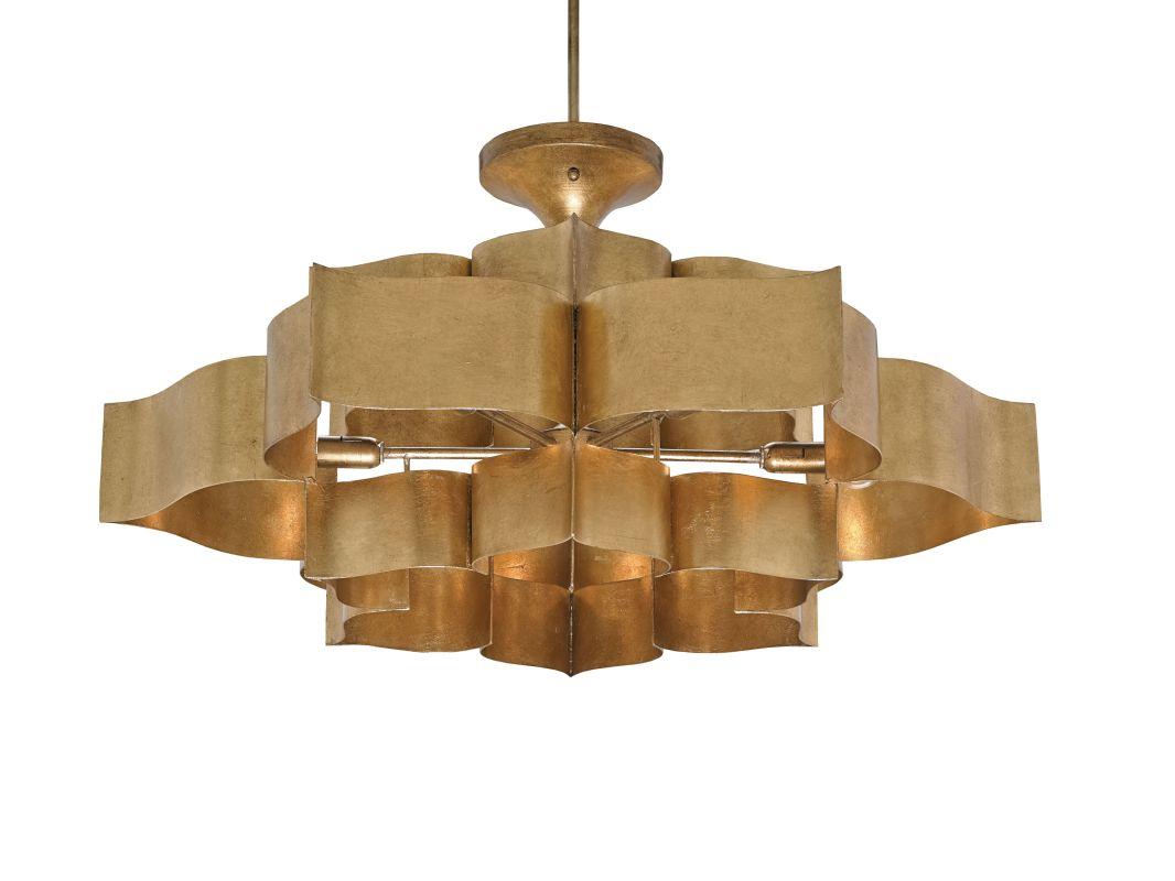currey and company 9494 antique gold leaf grand lotus 6 light large. Black Bedroom Furniture Sets. Home Design Ideas